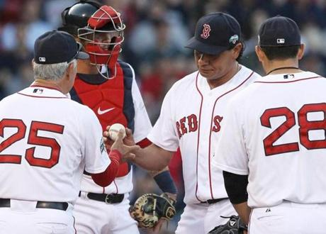 "Vicente Padilla and the Red Sox hit ""rock bottom,"" according to Bobby Valentine after this April 21 loss to the Yankees."